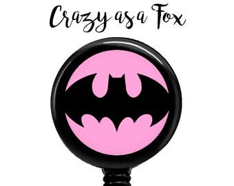 Batgirl Retractable Badge Holder, Badge Reel, Lanyard, Stethoscope ID Tag, doctor, md, pa, cna  Nurse, rn, teacher, student  Gift