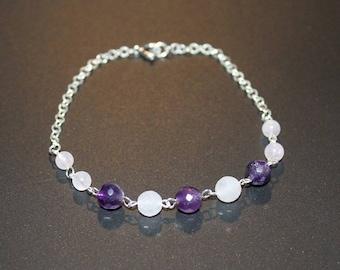 Amethyst bracelet and 1 rose Quartz