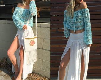 Slit skirt, maxi skirt, split skirt, smocked skirt, boho skirt, women skirt, summer skirt, high waist skirt, long skirt, gypsy skirt