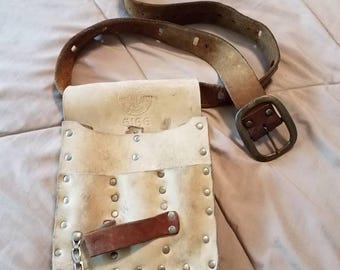 Vintage Klein 5166 electricians white leather tool belt, pouch and brown leather belt