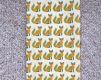 Reusable Cotton Beeswax Food Wrap Vintage Skandi Fox Yellow Green Gold Small 20cm x 20cm Eco Friendly Natural Living