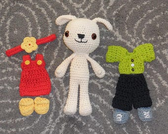 Crochet Stuffed Dog With Two Clothing Sets