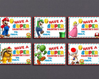 Valentine's Day Cards, Mario Bros Happy Valentine's Day, Super Mario Bros Valentine's Day Cards instant download