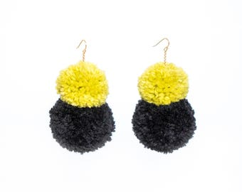 Double Stack Pom Poms, Earth Tone Pom Pom Earrings, Fluffy Earrings, Lime and Black