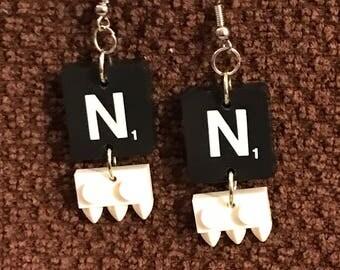 Personalized Handmade Black/White Scrabble & Lego Dangly Earrings