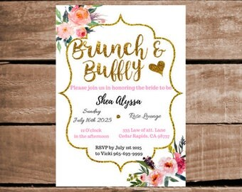 Glittery Brunch and Bubbly Simple Classy Bridal shower invite 2 options