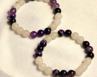 Rose quartz and Amethyst bracelet