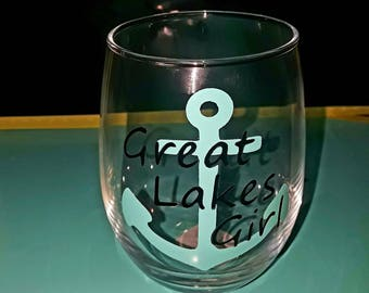 Great Lakes Girl Wine Glass