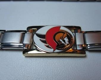 Stainless Steel NHL bracelet with Ottawa Senators logo 0293