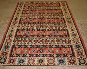Old Turkish Sarkoy Kilim Rug, Traditional Banded Design, Very Soft Pink Colours, Circa 1920.