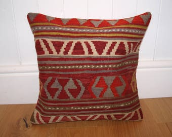 Turkish Handmade Kilim Cushion Cover, 40 x 40cm (16 x 16in), Made From a Vintage Kilim.