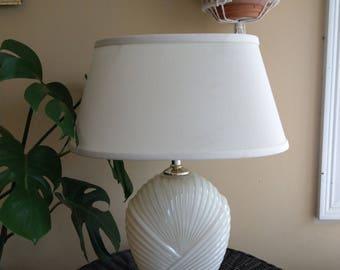 Mid century small cream table lamp
