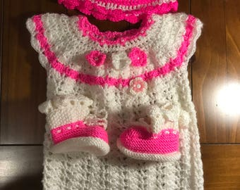 Knit dress with hat and socks