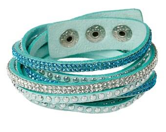 Winding bracelet * Glitter stones Silver Turquoise