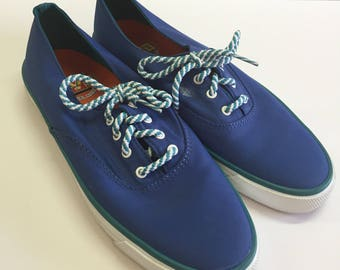 Vintage Sperry Women's Size 8 Top Siders Boat Shoes - Blue and Green Lace Up Sneakers - Water Resistant