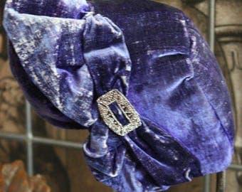 Flapper Velvet Cloche Hat Cut Steel Buckle Stunning