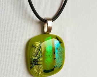 Gorgeous green dichroic fused glass pendant