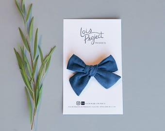 Sapphire Blue Corduroy Bow