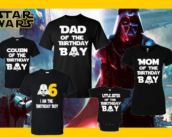 Star wars birthday matching family T-shirts / custom made disney starwars family T-shirts birthday boy –  girl for all ages adults – youth-t