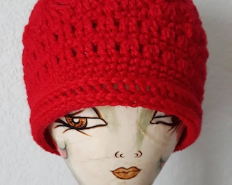 Candy Apple Red Crochet Hat Beanie