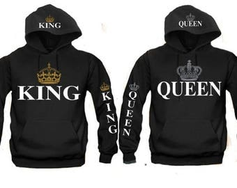 King and Queen Matching Couple Hooded Sweatshirts