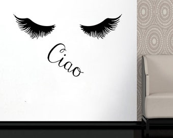 Wall Decal Window Sticker Beauty Salon Woman Face Eyelashes Lashes Eyebrows Brows t668