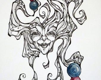 Original watercolor/black in painting of fantasy by Renata Lombard