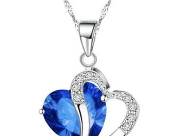 Beautiful sapphire crystal heart necklace