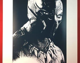 Black Panther I portrait (Inspired by Marvel), original art print, Comics super hero, avengers, movie,