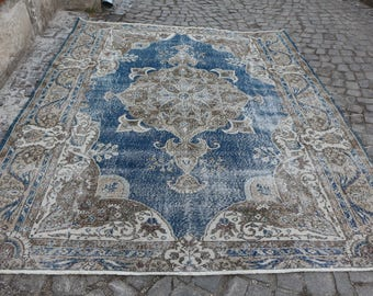 unique turkish rug blue color over size oushak rug 7.7 x 10. ft. decorative area rug Free Shipping organic turkey rug bohemian rug MB203