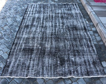 Oversize Overdyed Rug Free Shipping 4.9 x 7.9 ft. Faded Color Overdyed Rug Bohemian Area Rug Hall Rug Black Color Rug Pale Color Rug MB291