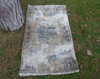 Muted color turkish rug, Free Shipping  2.4 x 4.4 ft. rustic rug, decorative handknotted rug, bathroom design rug, eclectic rug, MB411