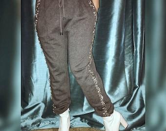 Athleisure Embellished Sweatpants With Rhinestones