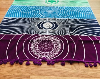 Bohemian 7 chakra throw/tapestry - vibrant and energizing {yoga, meditate}