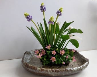 Floral Arrangement-Home Decor-Polymer Clay Flower-Gift-Grape Hyacinth,Peace Lily,Shamrock - Elegant Gift-Gift for Her Women Mother Birthday