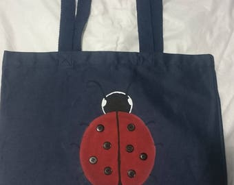 Hand Painted Lady Bug tote bag with button accents