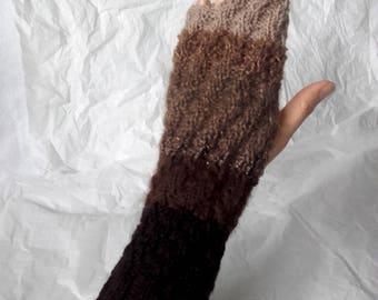Brown - beige  fingerless gloves