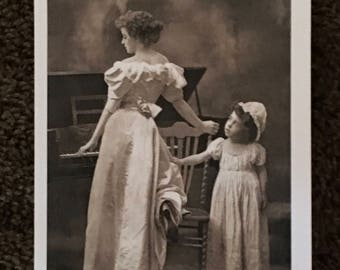 Victorian Lady and Child Greeting Card