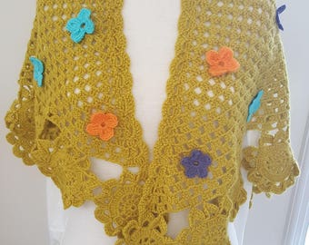 Green crochet shawl