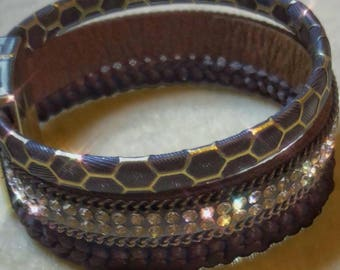 Diamante and honeycomb cuff bracelet