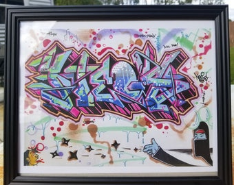 Graffiti Lettering Colorful Illustration Ninja Starz Illustration Graffiti Design Framed Print Home Decor Office Kids Room