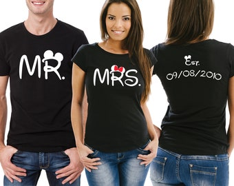 Customized MR and MRS His and Her couple matching T-shirts set.