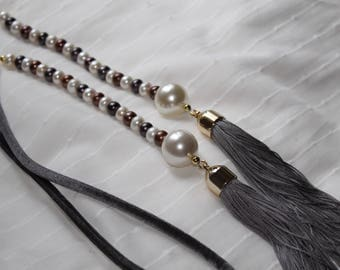 Pearl necklace, tassel necklace, long necklace, custom necklace
