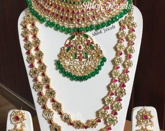Kundan jadau necklace with a long haar in coloured kundan