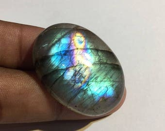 62.6 Cts 100% Natural Medagascar's Labradorite Cabochon Purple Multi Fire Polished Cabochon Healing Quartz Oval Shape 36x25.5x7 mm N#1082-25