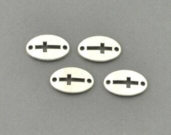 Antique Silver Tone Mini Cross Charm (AS00-0098)