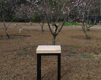 Small Maple and Steel Occasional Table
