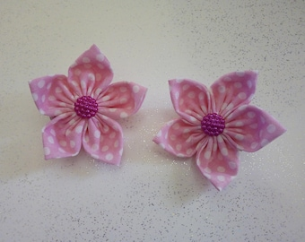 Pink polka dot flower hair clip, back to school hair accessories