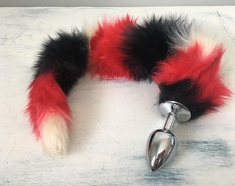 Multicolor Striped Fox Tail Plug