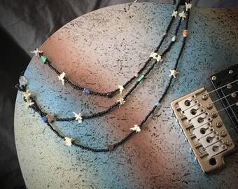 Fetish Necklace, Rattlesnake, Vertebrae, Semi-Precious Stones,